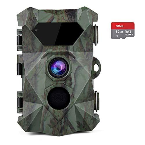 COOLIFE Caméra de Chasse 2.7K 20MP Vision Nocturne 35m Vitesse de Déclenchement 0.1s Caméra Chasse Infrarouge 46 pcs Low Glow IR LEDs Camera de Chasse Nocturne avec Carte 32G