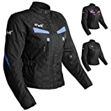 Women's Motorcycle Jacket For Women Stunt Adventure Waterproof Rain Jackets CE Armored Stella (Sky Blue, L)