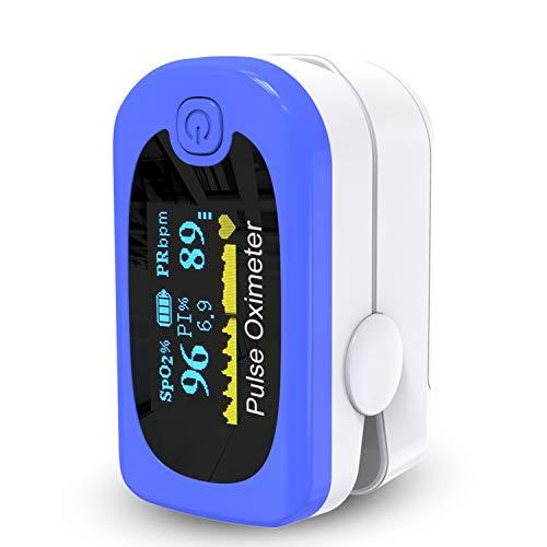 Mommed Pulsossimetro, Saturimetro Da Dito,Pulsossimetro da Dito con allarme   Letture accurate SpO2, indice di perfusione, ossigeno nel sangue, frequenza del polso