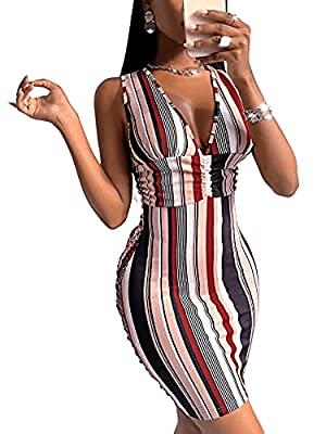 Fabric has slight stretch Striped print, criss cross, sleeveless, v neck, backless, bodycon mini dress Occasion: party, street, date, travel, bar, club, birthday party Garment Care: Machine washable with cold water/Hang to dry Please refer to Size Ch...
