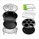 8 inch XXL Air Fryer Accessories Set of 8 for Phillips Cozyna and Secura etc, All fit 4.2QT - 5.8QT Air Fryer
