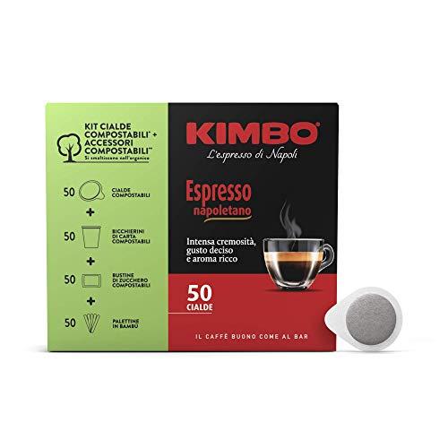 Kimbo Cialde Caffè Compostabili Ese Espresso Napoletano Da 50 Pezzi Con Kit Di 50 Bicchierini Di Carta, 50 Palettine E 50 Bustine Di Zucchero Compostabili - 350 g