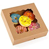 Moretoes 20pcs Brown Pie Boxes 9x9x2.5 Inches Kraft Bakery Boxes Cake Boxes with Window for Pies, Cookies and Muffins