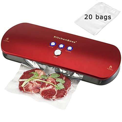KitchenBoss 3-in-1 Vakuumiergerät für Trockene und Feuchte Lebensmitteln, Automatisch/Manuelles Vakuum-Verschluss -System, Vakuumierer Folienschweißgerät (inkl. 20 Beutel und 1 Hose) /Rot