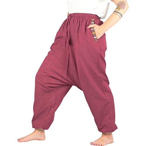 Nitya Design Pantaloni Harem da donna e da uomo con motivo etnico in cotone, disponibile in diversi colori S-XXL, Colore: rosso, M-L