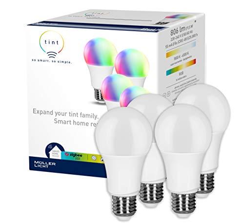 tint von Müller-Licht 4er-Set Smarte LED Lampen E27, Birnenform, white-color (Weißtöne und farbiges Licht), dimmbar, jeweils 9W ersetzt 60W Lampe, Zigbee, funktionieren mit Alexa
