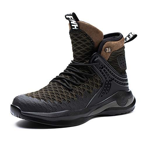 [tqgold] 安全靴 作業靴 メンズ レディース ハイカット スニーカー ブーツ 鋼先芯 軽量 通気性 防滑 耐摩耗 オシャレ バイク 靴 ワークシューズ 大きいサイズ (グリーン 24.5cm)