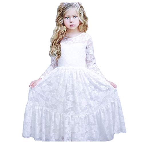 CQDY Lace Flower Girl Dress Long Sleeves Princess Communion Dresses for 2-13T White