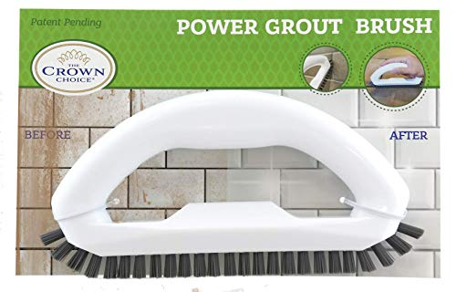 The Crown Choice Grout Cleaner Brush with Stiff Angled Bristles. Best Scrub Brushes for Shower Cleaning, Scrubbing Floor Lines and Tile Joints | Bathroom, Showers, Tiles, Seams