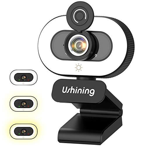Webcam mit Ringlicht und Mikrofon,1080P Webcam mit Abdeckung, Plug & Play Facecam für Streaming, Konferenz, Online Unterricht, Spiele, Kompatibel mit Windows/Linux/Android/Mac OS
