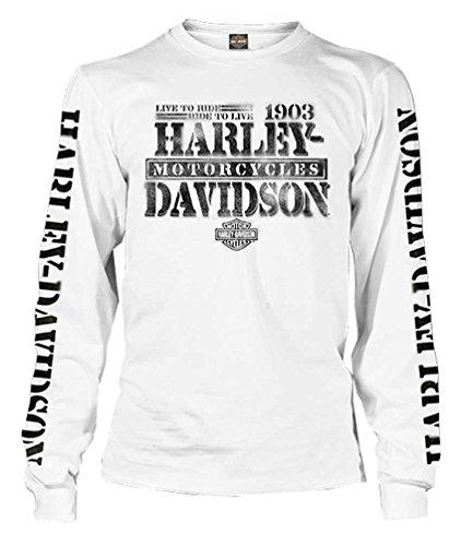 Harley-Davidson Men's Distressed Freedom Fighter Long Sleeve Shirt, White (XL)