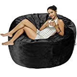 Amazon Basics Memory Foam Filled Bean Bag Chair with Microfiber Cover - 5', Black