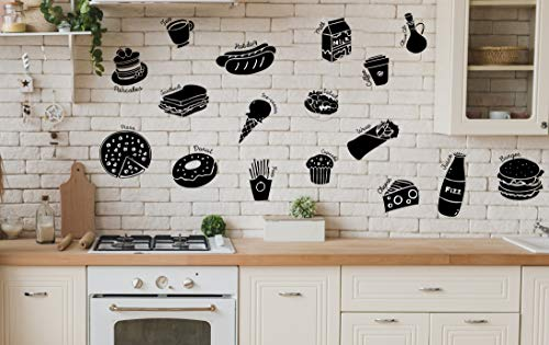 MINTKRAFT for Mom Matte Black Kitchen Wall Sticker, SELF-Adhesive,Food Decal Vinyl for Cafe & Restaurant, 3' Individual Sticker with Names, 17 Stickers, Decorative Sticker, MDC74