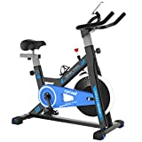 cycool Exercise Bike Belt Drive Stationary Bike Indoor Cycling Bike with Phone Stand,Comfortable Seat Cushion,LCD Monitor (S1)