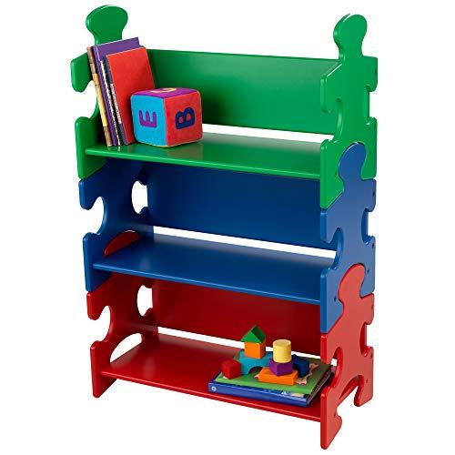 KidKraft-14400 Scaffale A Puzzle con 3 Mensole, in Legno, Mobile per la Cameretta dei Bambini, Colore Verde/Blu/Rosso, 14400