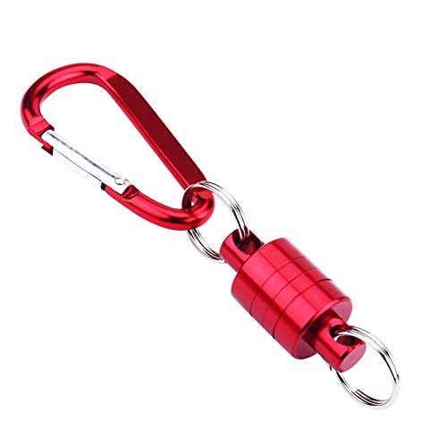 VGEBY1 Portachiavi con magneti, Pulsante di Collegamento in Lega di Alluminio con moschettone per attivit Sportive all'aperto Come Il guadino da Pesca(Rosso)