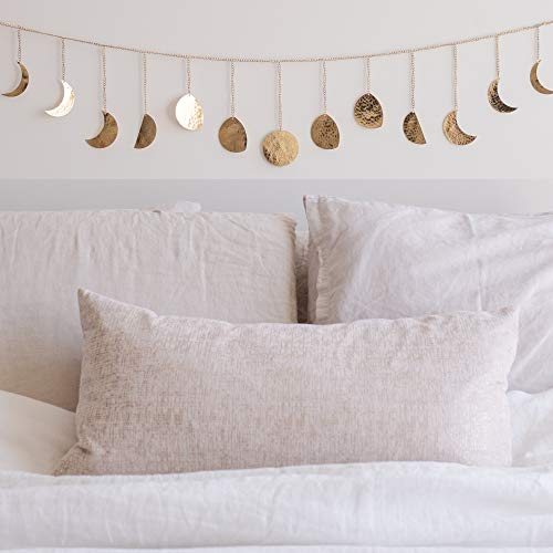 Moon Phase Wall Hanging Handmade Hammered Gold Metal 13 Moons 36'...
