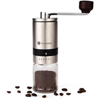 Moulin à café manuel / manuel avec broyeur en céramique | Moulin à café et expresso manuel avec 6 niveaux de mouture | Moulin à café manuel en acier inoxydable et récipient en verre