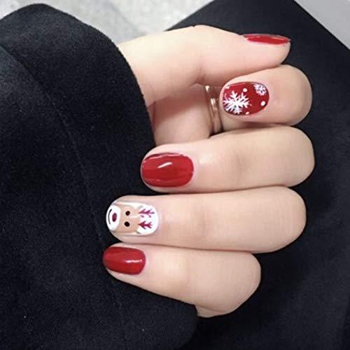 Edary Fake Nails Christmas Elk Snowflake False Nails Full Cover Short Nails Art Press on Red Nail 24Pcs for Women