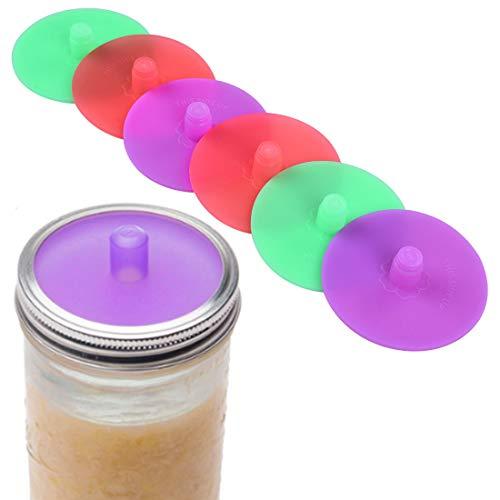 FREAHAP R Airlock Fermentation Lids 6Pcs Silicone Fermentation Lids 3.35' for Wide Mount Mason Jars BPA Free Moldfree Dishwasher Safe Green Purple Red