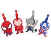 Finex Set of 4 - Avengers Captain America Iron Man Spiderman Luggage ID Tag Bags with Adjustable Strap Superhero