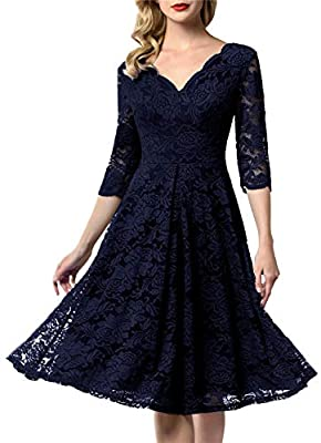 Feature: A-Line ,V-Neck ,Cap Sleeve or 3/4 Sleeve,Invisible Zipper ,Below Knees/Mid Calf Length./The photo model is around 66.9 inch/ 170 cm height and wear size S , the length for her is below knee length . please make a reference Fabric: The floral...