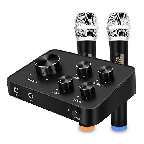 Doppio UHF Microfono Wireless, Portatile Karaoke Set di microfono sistemi mixer, HDMI e AUX In/Out per Karaoke, Home Theater, Amplificatore, Altoparlante