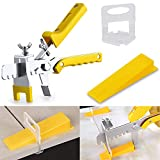 Tile Leveling System with Tile Plier - 300-Piece Tile Spacers Clips and 100-Piece Reusable Wedges - Tile Tools Set for Stone Installation (1/8 Inch Tile Spacers)