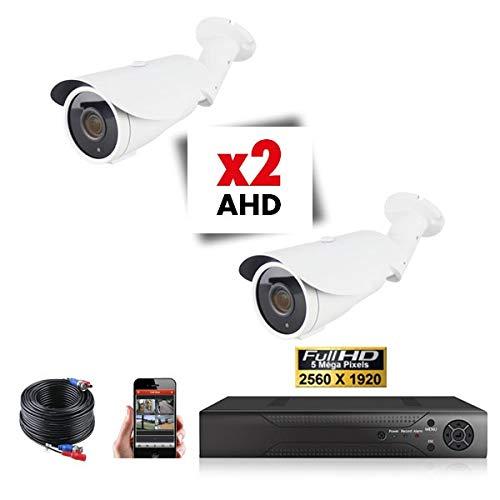 Kit Videosorveglianza 2 Telecamere Tubi varifocale Pro Full AHD Sony 5 MP - 1000 GB Offerta 2 Cavi da 20 m Inclusi Schermo 22 Pollici DVR AHD 8 Vie