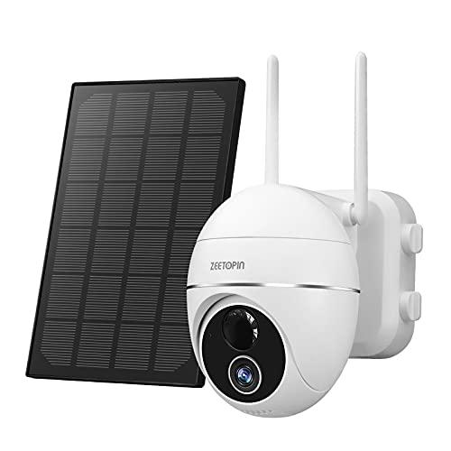 Telecamera wi-fi Batteria 15000mAh IP camera Rotazione 355 /140 ,con pannello solare,telecamera WiFi FHD 1080p,sensore di movimento PIR,audio a 2 vie,visione notturna,impermeabile IP66