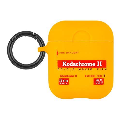 Kodak × Case-Mate コダック コラボ AirPods ソフト シリコン ケース (AirPods 第1世代 / 第2世代) ネックストラップ付属 ワイヤレス充電対応・便利なリングクリップ・手触り良し イエロー レトロデザイン Vintage Kodachrome II Print CM039080