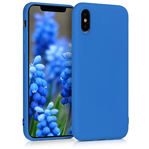 kwmobile Cover Compatibile con Apple iPhone XS - Custodia in Silicone TPU - Backcover Protezione Posteriore- Blu Fluo
