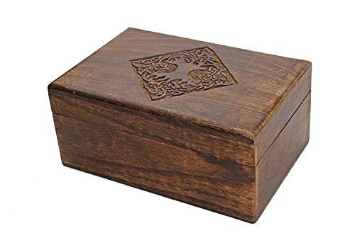 Store Indya Regalo de rakhi para hermana - Joyería de madera de estilo rústico, caja de abalorios / organizador de almacenamiento de recuerdos con diseño celta tallado a mano [8x5] [marrón]
