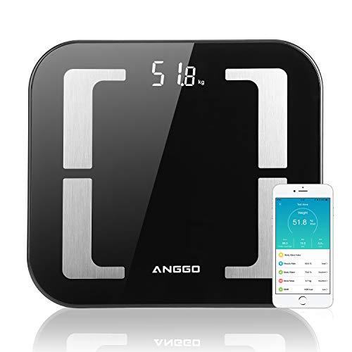ANGGO Körperfettwaage, Bluetooth Personenwaagen Smart Digitalwaage mit APP BMI Körperanalysewaage für Gewicht, Muskelmasse, Wasser usw. Kompatibel mit Apple Health, Google Fit und Fitbit