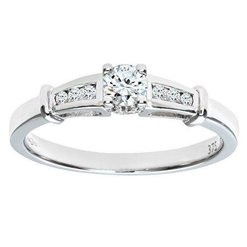 Naava Anillo de Mujer con Oro blanco de 9 quilates (375) con Diamantes Brillantes - Tamaño 14