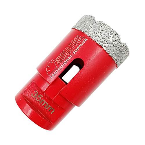 Shdiatool Broca De Diamante 35Mm Vacío Soldadura Para Perforación En Seco Porcelana Azulejo Granito Mármol M14