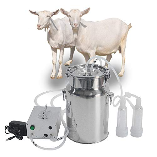 Goat Milking Machine SEAAN Goat Milker Electric Milking Machine with 2 Teat Cups Pulsation Vacuum Pump Stainless Steel Bucket 7L for Goat