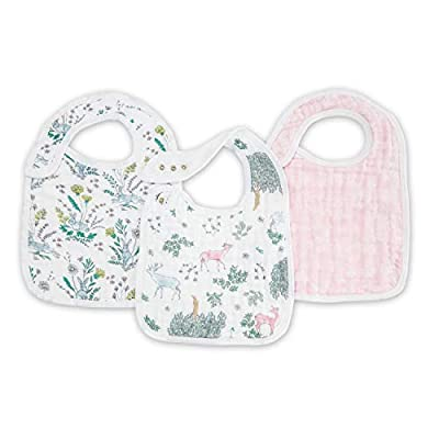 """PREMIUM QUALITY – 3 Pre-washed super soft 100% cotton muslin baby and toddler snap bib; 9"""" X 13"""" (23cm x 32.5cm), lightweight and breathable COMFORTABLE AND SECURE – Features multiple snaps in front for easy fastening and an adjustable fit that grows..."""