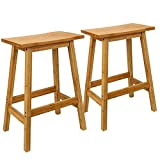 ErgoDesign 24 Inch Bamboo Stools, Classic Bamboo Saddle-Seat Kitchen Counter Stools with Footrest (2 Chairs)