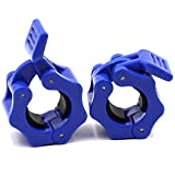 IADUMO Weighted Bar Clamps Barbell Collars Weight Plate Clips Quick Release 1 Inch Pair Standard Curl Bar Plate Collar Fast Locking Weightlifting,Strength Training/Gym Home (Blue).