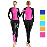 COPOZZ Diving Skin, Men Women Youth Thin Wetsuit Rash Guard- Full Body UV Protection - for Diving Snorkeling Surfing Spearfishing Sport Skin (Black/Hot Pink, Medium for Women)