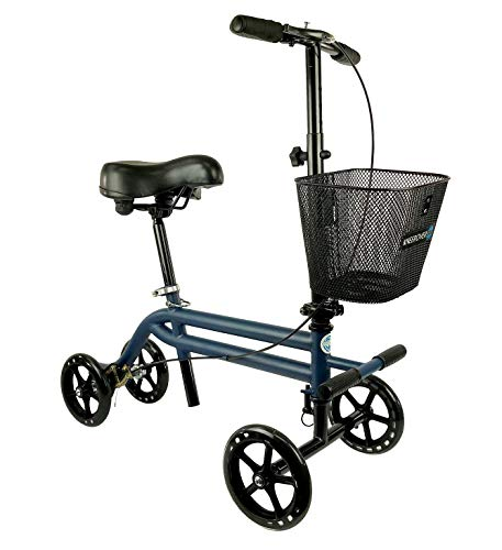 Evolution Steerable Seated Scooter Mobility Knee Walker Turning Leg Walker Crutches Alternative in Blue