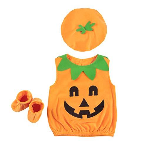 Amosfun Kit Costume Halloween Zucca per Bambini Cappotto Cappello Calzini Abiti 90cm