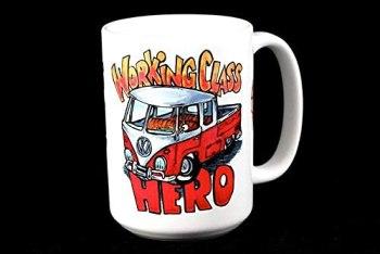 Hero Mug Working Class VW Double cab Bus Patina Volkswagen Ceramic 11 oz Coffee Stovepipe The Ru