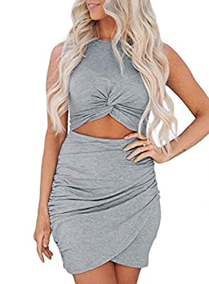 Dokotoo womens sexy bodycon dress is a super breathable and slim fit party dress. Soft, lightweight and comfortable to wear Features: Crewneck, Sleeveless, Hollow Out, Twist Knot Front, Cutout, Solid Color, Slim Fit, Bodycon Dresses Occasion: Perfect...