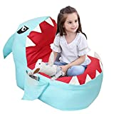 Lmeison Animal Storage Bean Bag Chair, Soft Canvas Plush Toy Organizer, Towels & Clothes Stuffed Storage Bag(No Stuffing) (Blue Shark)