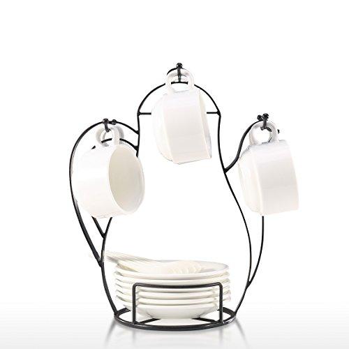 TOOARTS Albero Porta Tazze, Supporto per Albero da caffè a Forma di tazzina da appoggio per bancone o dispensa Supporto per Albero in Filo Metallico Vintage per Bicchieri e Tazze da caffè