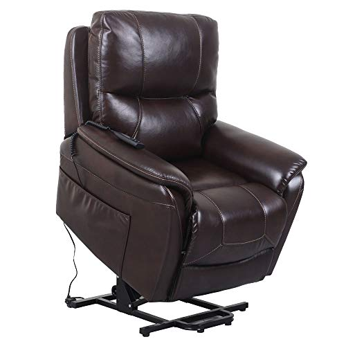Irene House 9180 Dual OKIN Motor Power Lift Chair Lays Flat Electric Power Lift Recliner Chair for Elderly Up to 300 LBS Breath Leather Lift Chairs Recliners with Side Pocket(Red Brown Leather)