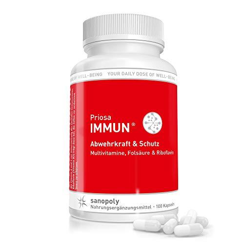 SANOPOLY Priosa® IMMUN 100 Kapseln I Vollständiger Multi-Vitamin-Komplex I Steigerung neuronaler, physischer & geistiger Funktion I Stärkung von Immunsystem & Nervensystem I Vegane Vitamine