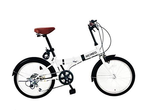ARCHNESS 206-A (ホワイト) 折りたたみ自転車20インチ ワイヤー錠・5LEDハンドルライト付
